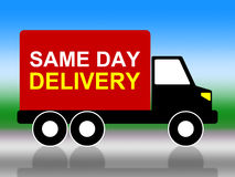 Same Day Delivery Indicates Fast Shipping And Distributing Royalty Free Stock Photo