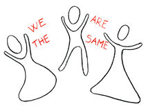 We are the same drawn with a crayon. We are the same drawn with a crayon isolated on a white background. Freehand drawing Stock Images