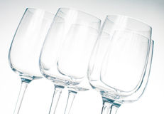 Same empty  wine glasses Stock Photos