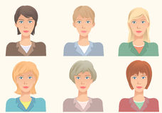 The same face with different hairstyles. Vector illustration ava. Tars. Fashionable hairstyles with various hair colors  for business lady Royalty Free Stock Photo
