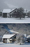The same house. Snowstorm and a sunny day. Winter Weather in village Stock Photography