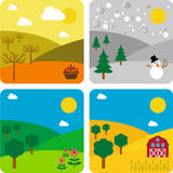 The same landscape, the Four Seasons Stock Photography