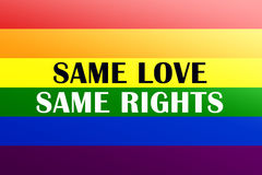 Same love, same rights. Illustration of rainbow LGBT flag - symbol for gay, lesbian, bisexual or transgender relationship, love or sexuality with text Same love Stock Illustration