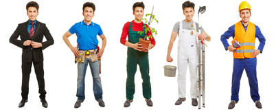 Same man in different jobs and professions. Standing isolated on white Stock Photography