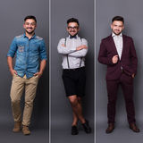 The same man in different styles. Three different photos of one and the same man are organized into one picture. Short-haired man smiling in different wearings stock photos