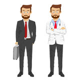 The same man showing two characters as doctor and businessman Stock Photos