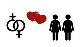 Same-sex couple flat icon. Gender Signs.  Female symbols. Same-sex couple flat icon. Sex icon.  Gender Signs.  Female symbols. Vector image Stock Photo