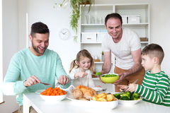 Same sex couple having dinner with children. Same sex male couple having dinner with their son and daughter in their home Stock Photos