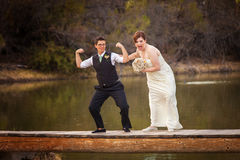 Same Sex Couple Having Fun at Lake Stock Images