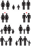 Same Sex Family Icons (gay marriage). Family icons of same sex couples in black and white graphic style Stock Photography