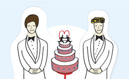 Same sex marriage. Illustration of a male homosexual couple standing next of a wedding cake. Gay/same sex marriage concept. Additional vector format available Royalty Free Stock Image