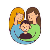 Same sex parents illustration Royalty Free Stock Photo