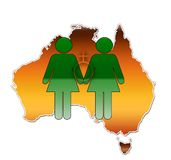 Same Sex Union Australia. An illustration for marriage equality in Australia Stock Image