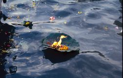 Prasada -oillamp on the water. At the same time flowers, lights and prayers offered by pilgrims are taken along by the river Stock Images