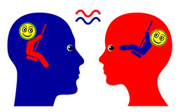 Same Wavelength. Concept sign of mutual sympathy and sense of community between man and woman stock illustration