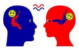 Same Wavelength. Concept sign of mutual sympathy and sense of community between man and woman Royalty Free Stock Photo