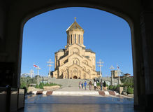 Sameba (三位一体)大教堂在第比利斯,乔治亚的首都 图库摄影