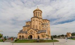 Sameba cathedral in historic city Tbilisi Royalty Free Stock Photo
