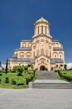 Sameba Cathedral in Tbilisi. Close-up view of the Sameba Cathedral bathing in sunlight, Tbilisi Royalty Free Stock Image