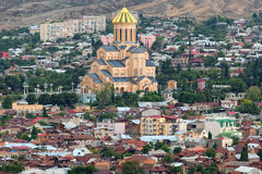 Sameba in Tbilisi. Cathedral of Georgian Orthodox Church located in Tbilisi, capital of Georgia Stock Photos