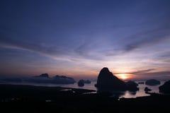 Samed Nang она точка зрения и восход солнца Стоковая Фотография