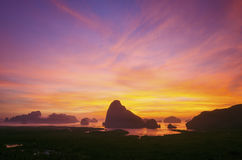 Samed Nang zij gezichtspunt en zonsopgang Stock Afbeeldingen