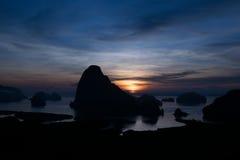 Samed Nang zij gezichtspunt en zonsopgang Stock Foto