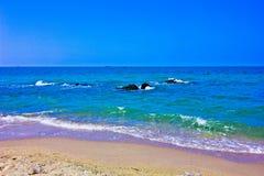 Samela beach. A beach is beautiful, the green sea, the sky is blue Stock Photos