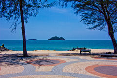 Samela beach. A beach is beautiful, the green tree, the green sea, the sky is blue Stock Images