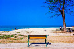 Samela beach. A beach is beautiful, the green tree, the green sea, the sky is blue Royalty Free Stock Image
