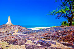 Samela beach. The green tree, the gree sea, the sky is blue Royalty Free Stock Images