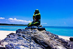 Samela beach. The green tree, the green sea, the sky is blue Royalty Free Stock Images