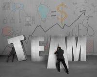 Samen beweegt TEAM 3D concreet woord Stock Afbeelding