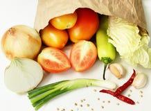 Samen gemengde groenten en witte achtergrond Royalty-vrije Stock Foto