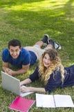 Samen het bestuderen in openlucht Stock Foto's