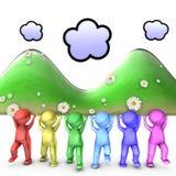Samen kunnen wij grote bergen bewegen Stock Afbeelding