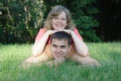 Samen op het gras Stock Foto's
