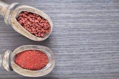 Samen und organisches achiote Pulver - Bixa-orellana Stockfotografie