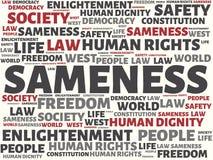 SAMENESS - imagen con las palabras asociadas a la COMUNIDAD DE VALORES, palabra, imagen, ejemplo del tema Imagen de archivo