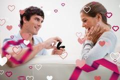Samengesteld beeld die van de mens een voorstel van huwelijk doen stock illustratie
