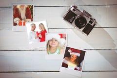 Samengesteld beeld die van glimlachend paar en gift omhelzen houden stock afbeelding