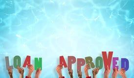 Samengesteld beeld die van handen goedgekeurde lening steunen Royalty-vrije Stock Afbeeldingen