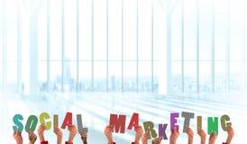 Samengesteld beeld die van handen sociale marketing steunen Royalty-vrije Stock Afbeelding