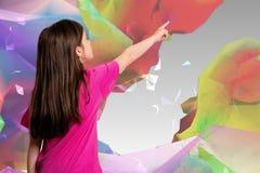 Samengesteld beeld die van leuk meisje met vinger richten Royalty-vrije Stock Fotografie