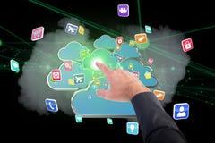 Samengesteld beeld die van zakenman met zijn 3d vinger richten Stock Fotografie