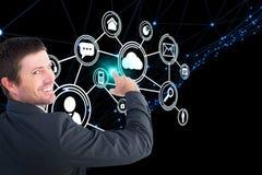 Samengesteld beeld die van zakenman met zijn 3d vinger richten Royalty-vrije Stock Afbeeldingen