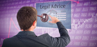 Samengesteld beeld die van zakenman met zijn vinger richten stock afbeeldingen