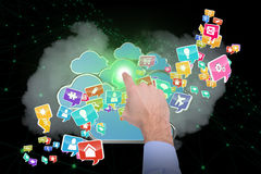 Samengesteld beeld die van zakenmanhand 3d iets richten Stock Foto's