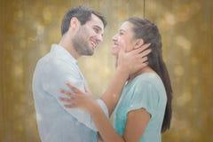 Samengesteld beeld van aantrekkelijk jong paar ongeveer aan kus Royalty-vrije Stock Afbeelding