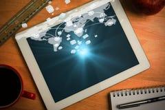 Samengesteld beeld van abstracte 3d kubusachtergrond Stock Foto